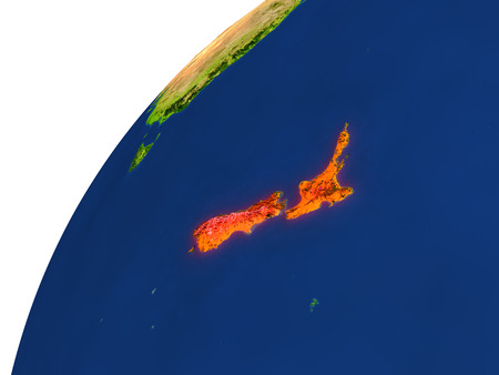aotearoa: New Zealand highlighted in red as seen from Earths orbit in space. 3D illustration with highly detailed realistic planet surface.