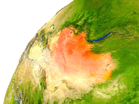 mongolia: Mongolia highlighted in red as seen from Earths orbit in space. 3D illustration with highly detailed realistic planet surface. Stock Photo