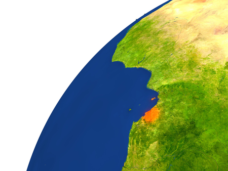 Equatorial Guinea highlighted in red as seen from Earths orbit in space. 3D illustration with highly detailed realistic planet surface.