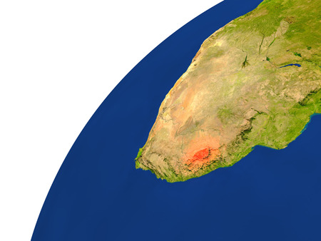 lesotho: Lesotho highlighted in red as seen from Earths orbit in space. 3D illustration with highly detailed realistic planet surface.