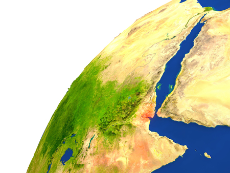 Djibouti highlighted in red as seen from Earths orbit in space. 3D illustration with highly detailed realistic planet surface.