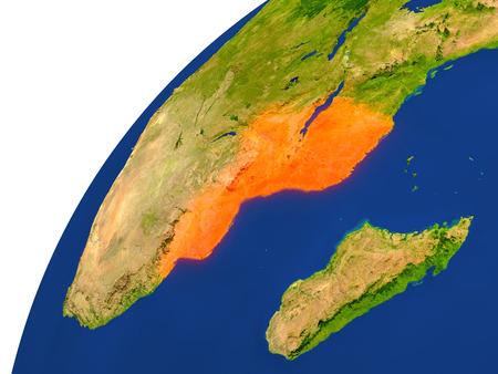 Mozambique highlighted in red as seen from Earths orbit in space. 3D illustration with highly detailed realistic planet surface.