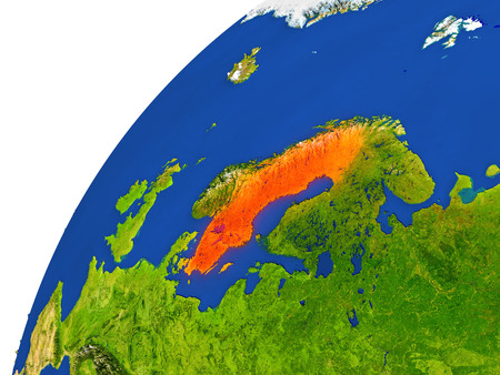 sverige: Sweden highlighted in red as seen from Earths orbit in space. 3D illustration with highly detailed realistic planet surface.
