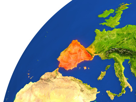 Spain highlighted in red as seen from Earths orbit in space. 3D illustration with highly detailed realistic planet surface. Stock Photo