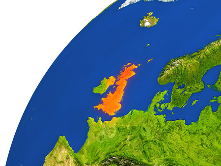 United Kingdom highlighted in red as seen from Earths orbit in space. 3D illustration with highly detailed realistic planet surface. Elements of this image furnished by NASA.