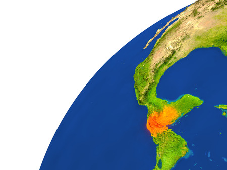 Guatemala highlighted in red as seen from Earths orbit in space. 3D illustration with highly detailed realistic planet surface. Stock Photo