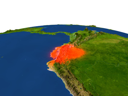Ecuador from Earths orbit in space highlighted in red color. 3D illustration with highly detailed realistic planet surface. Elements of this image furnished by NASA.