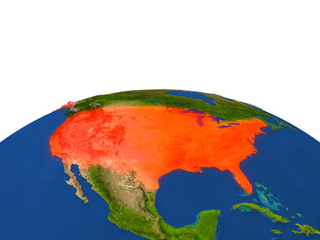 USA from Earths orbit in space highlighted in red color. 3D illustration with highly detailed realistic planet surface. Elements of this image furnished by NASA.