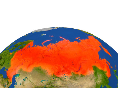 Russia from Earths orbit in space highlighted in red color. 3D illustration with highly detailed realistic planet surface. Elements of this image furnished by NASA. Stock Photo