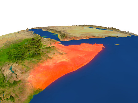 Somalia from Earths orbit in space highlighted in red color. 3D illustration with highly detailed realistic planet surface. Elements of this image furnished by NASA. Stock Photo