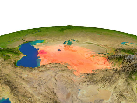Turkmenistan from Earths orbit in space highlighted in red color. 3D illustration with highly detailed realistic planet surface. Elements of this image furnished by NASA. Stock Photo