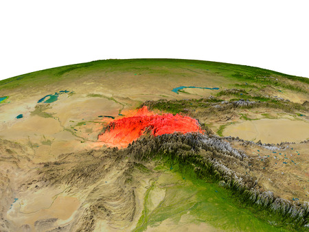 Tajikistan from Earths orbit in space highlighted in red color. 3D illustration with highly detailed realistic planet surface. Elements of this image furnished by NASA.
