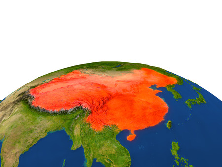 people's republic of china: China from Earths orbit in space highlighted in red color. 3D illustration with highly detailed realistic planet surface. Elements of this image furnished by NASA.