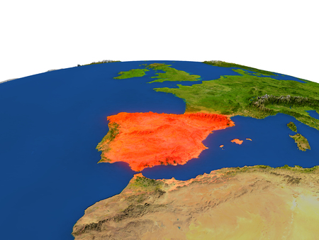 Spain from Earths orbit in space highlighted in red color. 3D illustration with highly detailed realistic planet surface. Elements of this image furnished by NASA. Stock Photo