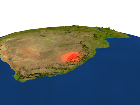 lesotho: Lesotho from Earths orbit in space highlighted in red color. 3D illustration with highly detailed realistic planet surface. Elements of this image furnished by NASA. Stock Photo