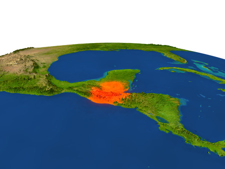 guatemalan: Guatemala from Earths orbit in space highlighted in red color. 3D illustration with highly detailed realistic planet surface. Elements of this image furnished by NASA.
