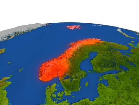 Norway from Earths orbit in space highlighted in red color. 3D illustration with highly detailed realistic planet surface. Elements of this image furnished by NASA. Stock Photo