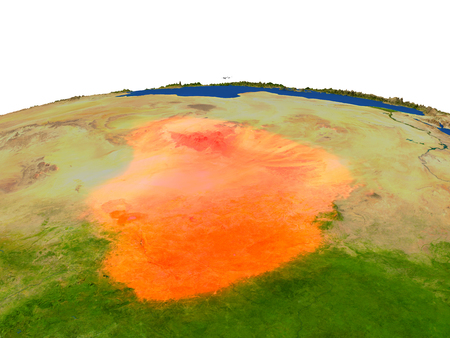 chadian: Chad from Earths orbit in space highlighted in red color. 3D illustration with highly detailed realistic planet surface. Elements of this image furnished by NASA. Stock Photo