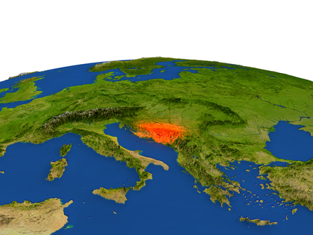 Bosnia from Earths orbit in space highlighted in red color. 3D illustration with highly detailed realistic planet surface. Elements of this image furnished by NASA. Stock Photo