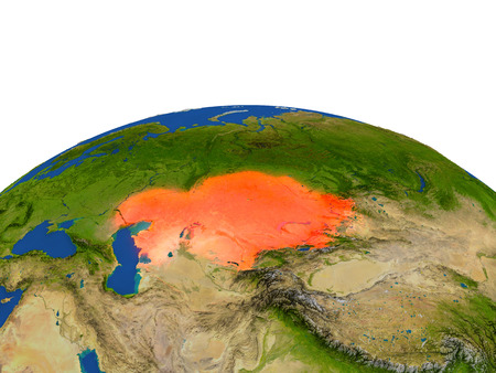 Kazakhstan from Earths orbit in space highlighted in red color. 3D illustration with highly detailed realistic planet surface. Elements of this image furnished by NASA.