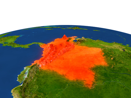 Colombia from Earths orbit in space highlighted in red color. 3D illustration with highly detailed realistic planet surface. Elements of this image furnished by NASA.