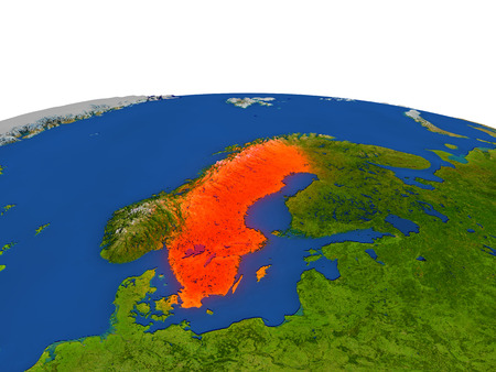 Sweden from Earths orbit in space highlighted in red color. 3D illustration with highly detailed realistic planet surface. Elements of this image furnished by NASA.