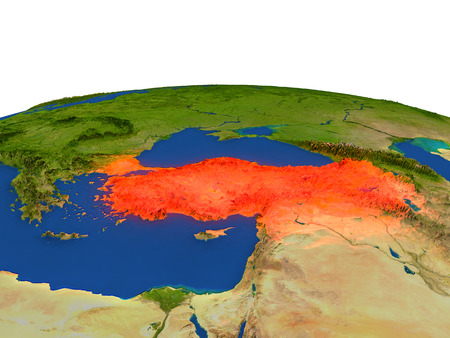 detailed image: Turkey from Earths orbit in space highlighted in red color. 3D illustration with highly detailed realistic planet surface. Elements of this image furnished by NASA.