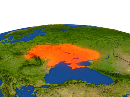 Ukraine from Earths orbit in space highlighted in red color. 3D illustration with highly detailed realistic planet surface. Elements of this image furnished by NASA. Stock Photo