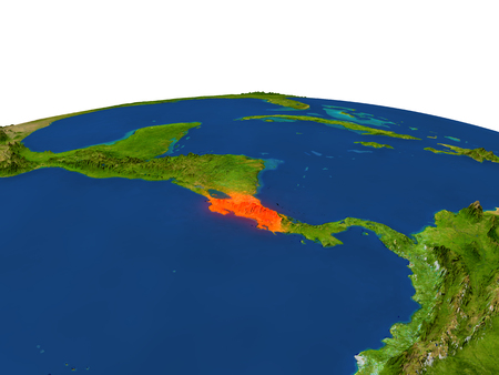 Costa Rica from Earths orbit in space highlighted in red color. 3D illustration with highly detailed realistic planet surface. Elements of this image furnished by NASA.
