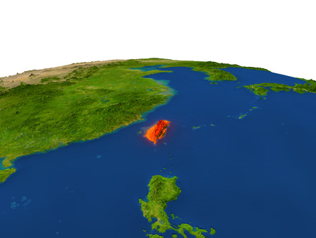 Taiwan from Earths orbit in space highlighted in red color. 3D illustration with highly detailed realistic planet surface. Elements of this image furnished by NASA.