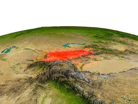 Kyrgyzstan from Earths orbit in space highlighted in red color. 3D illustration with highly detailed realistic planet surface. Elements of this image furnished by NASA.