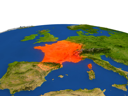francaise: France from Earths orbit in space highlighted in red color. 3D illustration with highly detailed realistic planet surface. Elements of this image furnished by NASA. Stock Photo