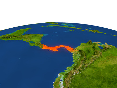panamanian: Panama from Earths orbit in space highlighted in red color. 3D illustration with highly detailed realistic planet surface. Elements of this image furnished by NASA.