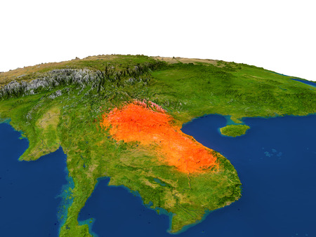 Laos from Earths orbit in space highlighted in red color. 3D illustration with highly detailed realistic planet surface. Elements of this image furnished by NASA. Stock Photo