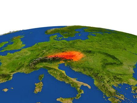 Austria from Earths orbit in space highlighted in red color. 3D illustration with highly detailed realistic planet surface. Elements of this image furnished by NASA. Stock Photo