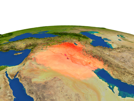Iraq from Earths orbit in space highlighted in red color. 3D illustration with highly detailed realistic planet surface. Elements of this image furnished by NASA.