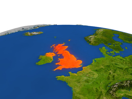 United Kingdom from Earths orbit in space highlighted in red color. 3D illustration with highly detailed realistic planet surface. Elements of this image furnished by NASA.