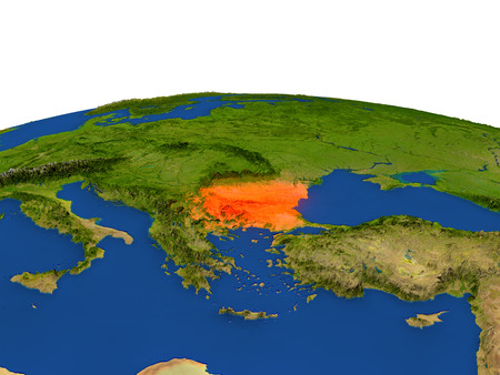 Bulgaria from Earths orbit in space highlighted in red color. 3D illustration with highly detailed realistic planet surface. Elements of this image furnished by NASA. Stock Photo