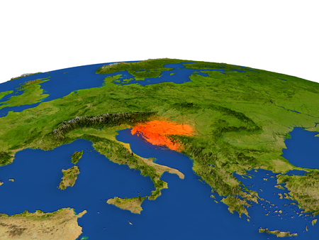 republika: Croatia from Earths orbit in space highlighted in red color. 3D illustration with highly detailed realistic planet surface. Elements of this image furnished by NASA.