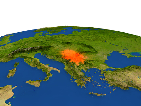 Serbia from Earths orbit in space highlighted in red color. 3D illustration with highly detailed realistic planet surface. Elements of this image furnished by NASA.