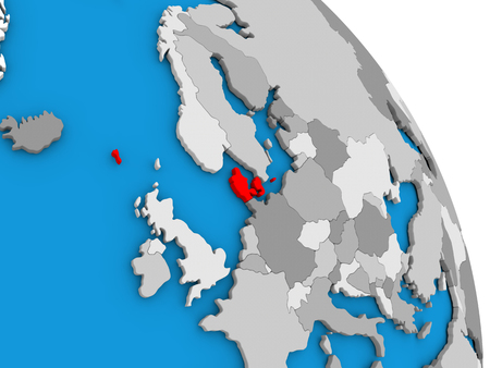 Denmark highlighted in red on simple globe with visible country borders. 3D illustration