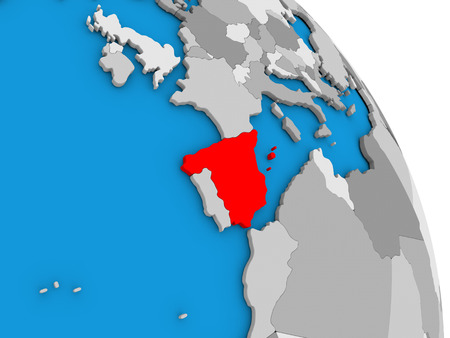 Spain highlighted in red on simple globe with visible country borders. 3D illustration Stock Photo