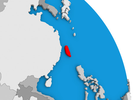 diplomacy: Taiwan highlighted in red on simple globe with visible country borders. 3D illustration Stock Photo