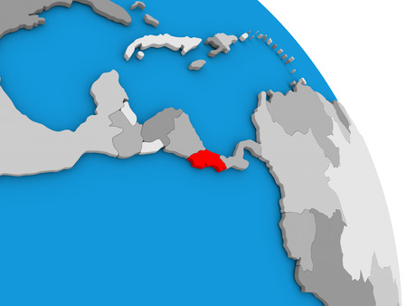 Costa Rica highlighted in red on simple globe with visible country borders. 3D illustration