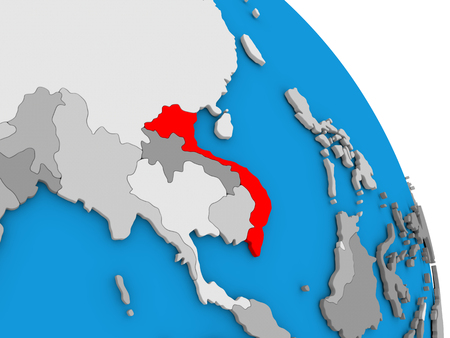 Vietnam highlighted in red on simple globe with visible country borders. 3D illustration Stock Photo