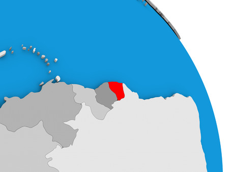 diplomacy: French Guiana highlighted in red on simple globe with visible country borders. 3D illustration