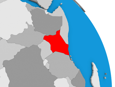 diplomacy: Kenya highlighted in red on simple globe with visible country borders. 3D illustration