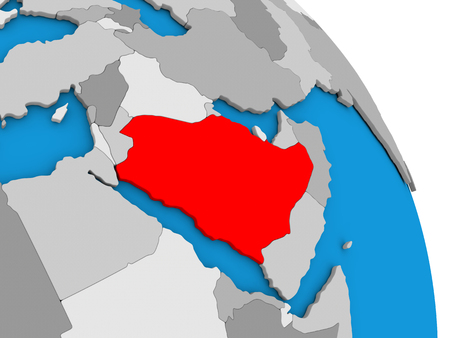 diplomacy: Saudi Arabia highlighted in red on simple globe with visible country borders. 3D illustration