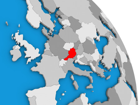 Austria highlighted in red on simple globe with visible country borders. 3D illustration Stock Photo