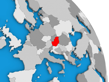 visible: Hungary highlighted in red on simple globe with visible country borders. 3D illustration Stock Photo